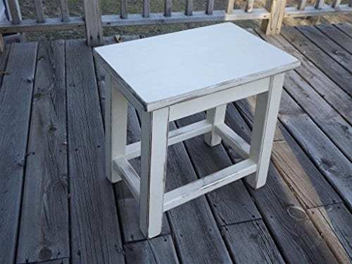 Distressed White Wood Side End Table