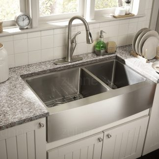 Zuhne Farmhouse Deep Double 16 Gauge Stainless Steel Kitchen Sink ...