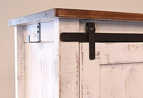 Anton Distressed White Sliding Barn Door Farmhouse Entry Table Console With Brown Wood Top And Hand Forged Custom Handles Fully Assembled Shabby Chic Console 0 1