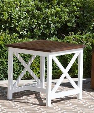 Cassandra Outdoor Farmhouse Cottage Dark Oak Acacia Wood End Table With White Frame 0 0 300x360