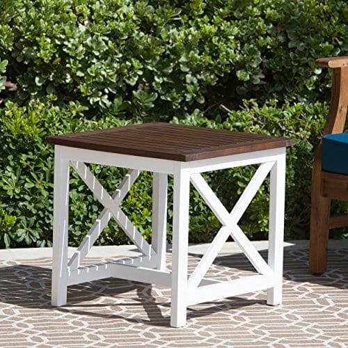 Cassandra Outdoor Farmhouse Cottage Dark Oak Acacia Wood End Table With White Frame 0 0