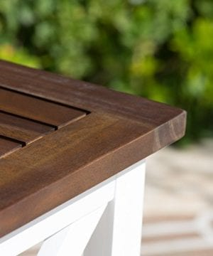 Cassandra Outdoor Farmhouse Cottage Dark Oak Acacia Wood End Table With White Frame 0 1 300x360