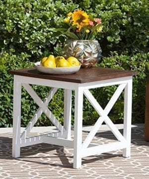Cassandra Outdoor Farmhouse Cottage Dark Oak Acacia Wood End Table With White Frame 0 300x360