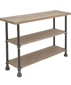 Deco-79-66670-Wood-Metal-Console-48-x-32-Brown-0-0