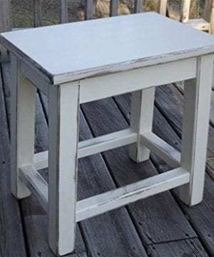 Distressed White Wood Side Table Small End Table 0 300x360