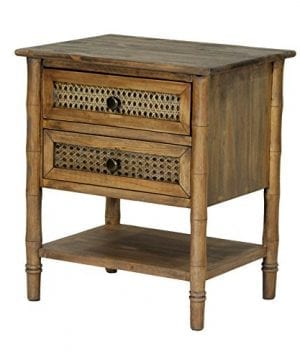 Heather Ann Creations Wallace Collection Living Room Bamboo Style 2 Drawer End Table Rustic Farmhouse Standard 0 300x360