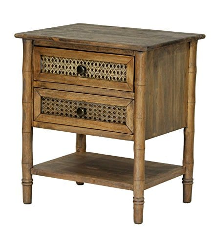 Heather Ann Creations Wallace Collection Living Room Bamboo Style 2 Drawer End Table Rustic Farmhouse Standard 0
