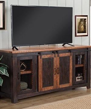Martin Svensson Home Santa Fe 65 TV Stand Antique Black And Aged Distressed Pine 0 1 300x360
