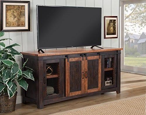 Martin Svensson Home Santa Fe 65 TV Stand Antique Black And Aged Distressed Pine 0 1