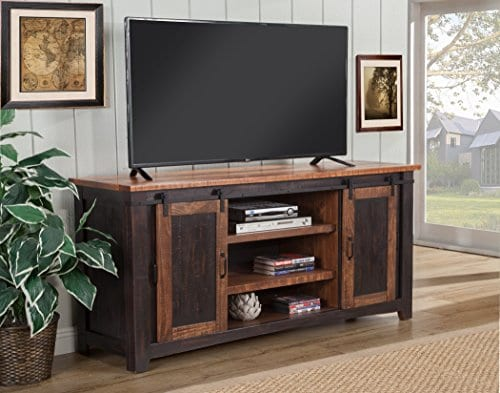 Martin Svensson Home Santa Fe 65 TV Stand Antique Black And Aged Distressed Pine 0 2