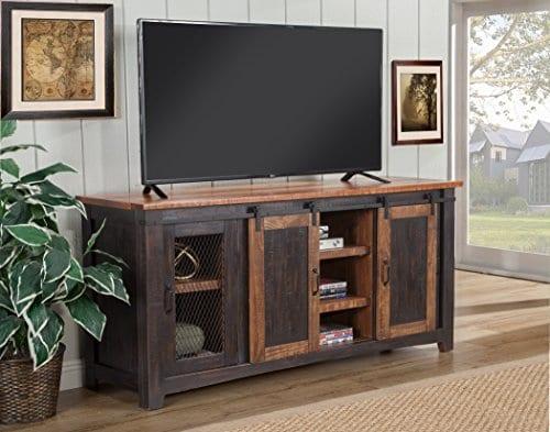 Martin Svensson Home Santa Fe 65 TV Stand Antique Black And Aged Distressed Pine 0 3