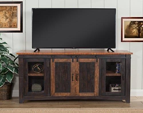 Martin Svensson Home Santa Fe 65 TV Stand Antique Black And Aged Distressed Pine 0 4