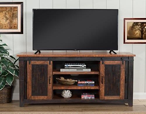 Martin Svensson Home Santa Fe 65 TV Stand Antique Black And Aged Distressed Pine 0 5