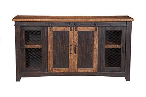 Martin Svensson Home Santa Fe 65 TV Stand Antique Black And Aged Distressed Pine 0