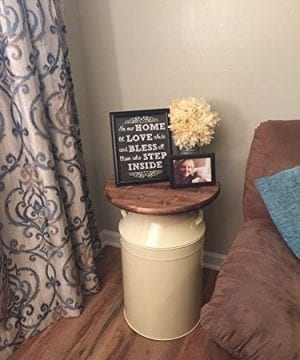 Milk Can End Table Wood End Table Cream Milk Can End Table Rustic End Table Rustic Table Round End Table 0 0 300x360