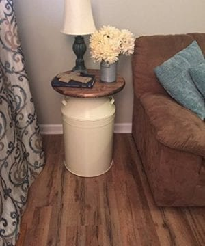 Milk Can End Table Wood End Table Cream Milk Can End Table Rustic End Table Rustic Table Round End Table 0 1 300x360