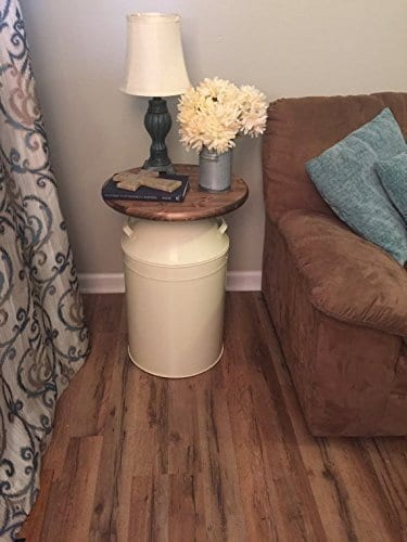 Milk Can End Table Wood End Table Cream Milk Can End Table Rustic End Table Rustic Table Round End Table 0 1