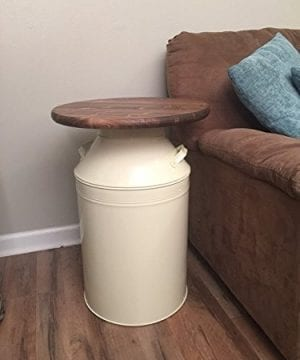Milk Can End Table Wood End Table Cream Milk Can End Table Rustic End Table Rustic Table Round End Table 0 2 300x360