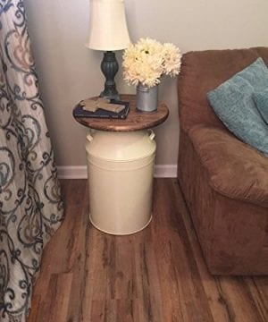 Milk Can End Table Wood End Table Cream Milk Can End Table Rustic End Table Rustic Table Round End Table 0 300x360