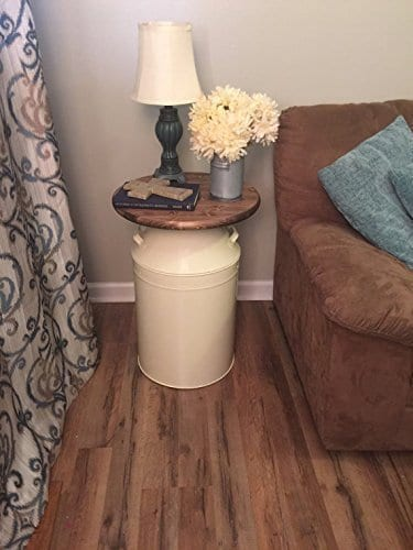 Milk Can End Table Wood End Table Cream Milk Can End Table Rustic End Table Rustic Table Round End Table 0