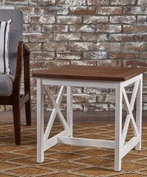 Selvan Indoor Farmhouse Cottage Dark Oak Acacia Wood End Table With White Frame 0 1 300x360