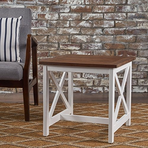 Selvan Indoor Farmhouse Cottage Dark Oak Acacia Wood End Table With White Frame 0 1