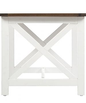 Selvan Indoor Farmhouse Cottage Dark Oak Acacia Wood End Table With White Frame 0 5 300x360