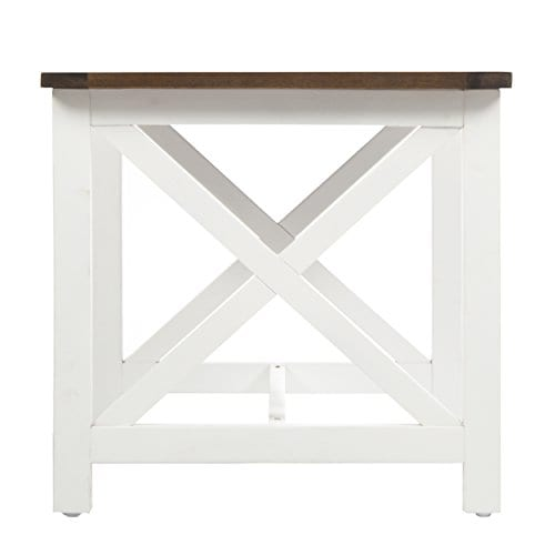 Selvan Indoor Farmhouse Cottage Dark Oak Acacia Wood End Table With White Frame 0 5