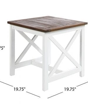 Selvan Indoor Farmhouse Cottage Dark Oak Acacia Wood End Table With White Frame 0 6 300x360