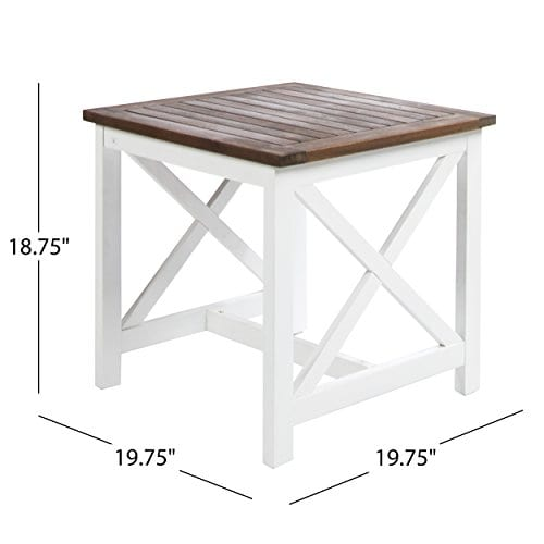 Selvan Indoor Farmhouse Cottage Dark Oak Acacia Wood End Table With White Frame 0 6