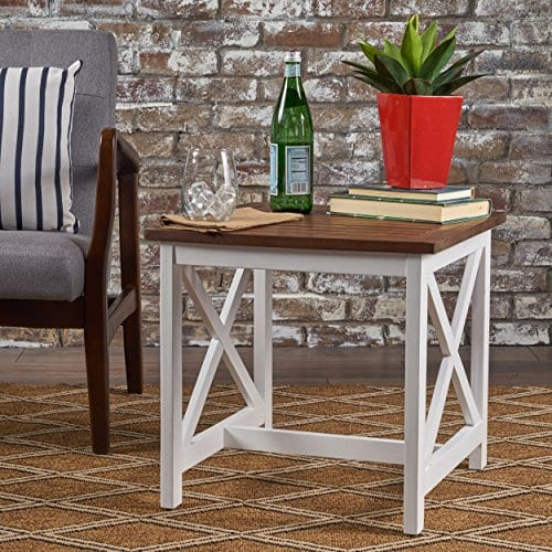 Selvan Indoor Farmhouse Cottage Dark Oak Acacia Wood End Table With White Frame 0