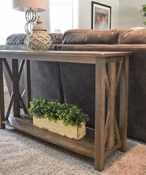 Sofa Table Solid Wood Rustic Farmhouse Style Console Table East End Collection Weathered Gray Living Room Furniture 0 2 300x360