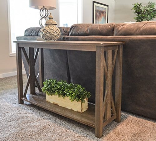 Sofa Table Solid Wood Rustic Farmhouse Style Console Table East End Collection Weathered Gray Living Room Furniture 0 2