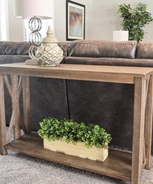 Sofa Table Solid Wood Rustic Farmhouse Style Console Table East End Collection Weathered Gray Living Room Furniture 0 3 300x360