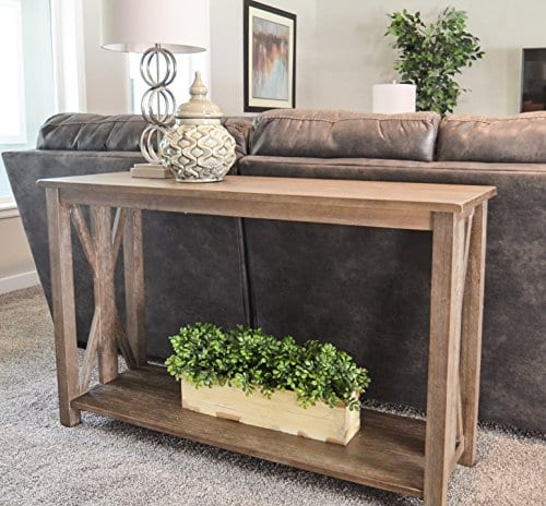 Sofa Table Solid Wood Rustic Farmhouse Style Console Table East End Collection Weathered Gray Living Room Furniture 0 3