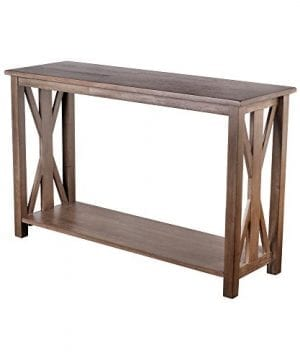 Sofa Table Solid Wood Rustic Farmhouse Style Console Table East End Collection Weathered Gray Living Room Furniture 0 300x360