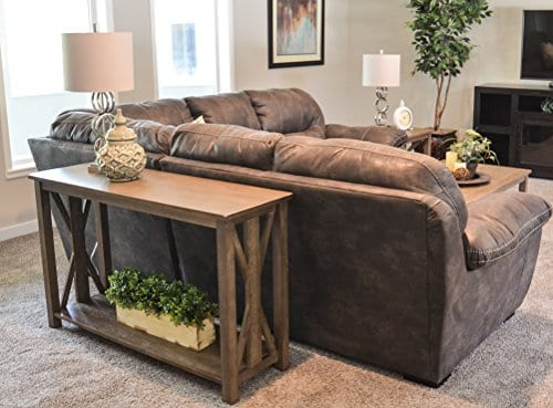 Sofa Table Solid Wood Rustic Farmhouse Style Console Table East End Collection Weathered Gray Living Room Furniture 0 4