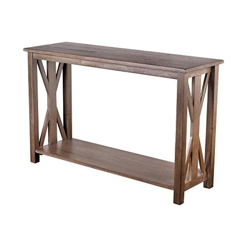 Sofa Table Solid Wood Rustic Farmhouse Style Console Table East End Collection Weathered Gray Living Room Furniture 0