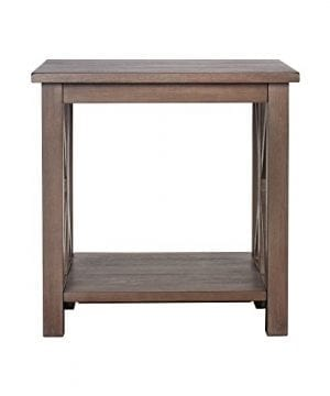 Solid Wood Rustic Farmhouse End Table Weathered Gray East End Collection Living Room Furniture 0 0 300x360