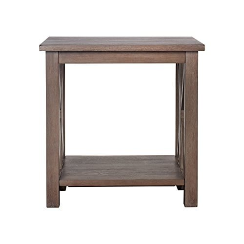 Solid Wood Rustic Farmhouse End Table Weathered Gray East End Collection Living Room Furniture 0 0