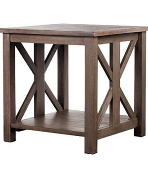 Solid Wood Rustic Farmhouse End Table Weathered Gray East End Collection Living Room Furniture 0 300x360