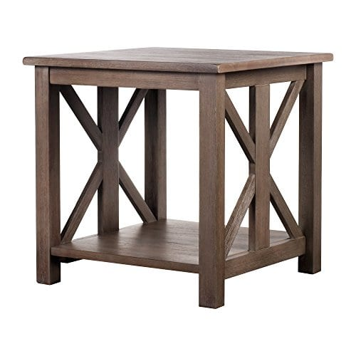 Solid Wood Rustic Farmhouse End Table Weathered Gray East End Collection Living Room Furniture 0