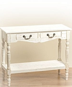The French Country Style 2 Drawer Console Table Shabby Chic Distressed Finish Creamy Wood Brass Hardware Over 3 Ft Wide By Whole House Worlds 0 300x360