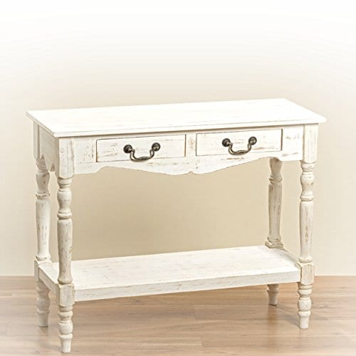 The French Country Style 2 Drawer Console Table Shabby Chic Distressed Finish Creamy Wood Brass Hardware Over 3 Ft Wide By Whole House Worlds 0
