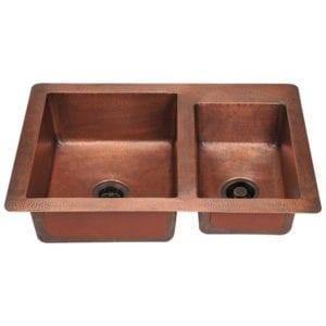 901 double offset bowl copper kitchen sink
