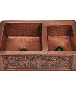 911 Double Offset Bowl Copper Apron Sink 0 300x360