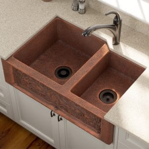 911 double offset bowl copper apron front sink