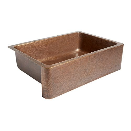 Adams Farmhouse Apron Front Handmade Copper Kitchen Sink 33 In Single Bowl In Antique Copper 0 1