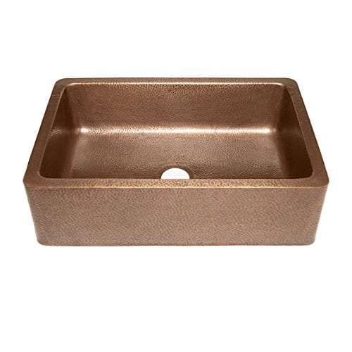 Adams Farmhouse Apron Front Handmade Copper Kitchen Sink 33 In Single Bowl In Antique Copper 0