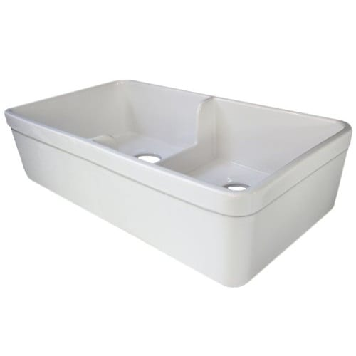 Alfi Brand 32 Inch Biscuit Short Wall Double Bowl Fireclay Farmhouse Sink